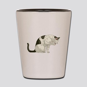 Brown And White Cat Shot Glass