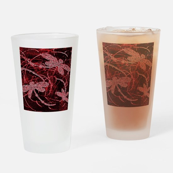 Neon Red Dragonflies Drinking Glass