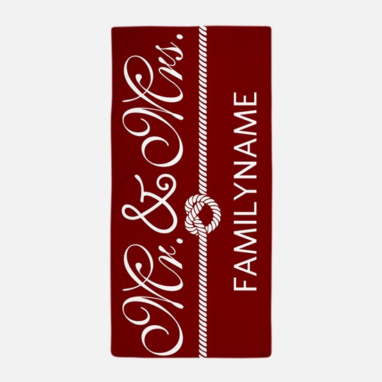 Red and White Custom Mr. and Mrs. Beach Towel