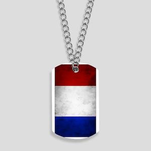 Grunge French Flag Dog Tags