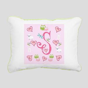 Pinky Initial - S Rectangular Canvas Pillow