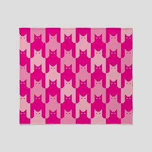 Pink CatsTooth Throw Blanket