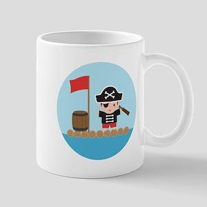 Cute Pirate Captain Boy on Raft Mugs