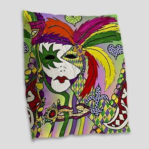 Mardi Gras Feather Masks Burlap Throw Pillow