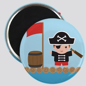 Cute Pirate Captain Boy on Raft Magnets