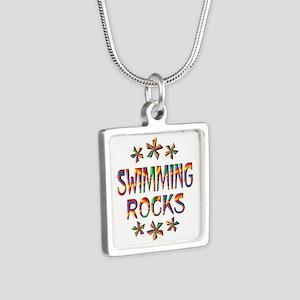 Swimming Rocks Silver Square Necklace