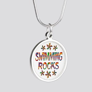 Swimming Rocks Silver Round Necklace