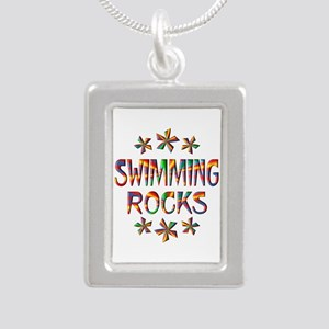 Swimming Rocks Silver Portrait Necklace