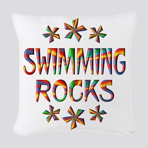 Swimming Rocks Woven Throw Pillow