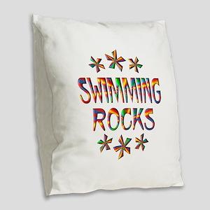 Swimming Rocks Burlap Throw Pillow