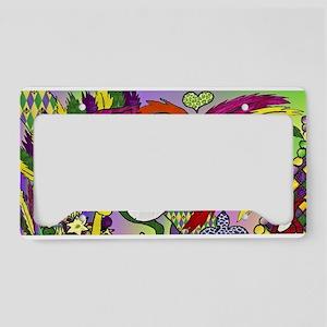 Mardi Gras Feather Masks License Plate Holder