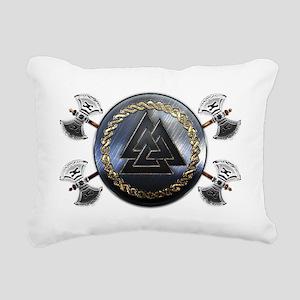 Valknut Shield Rectangular Canvas Pillow