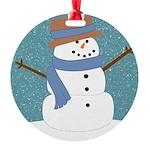Snowman in Snow Ornament