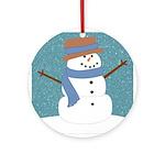 Snowman in Snow Ornament (Round)