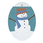 Snowman in Snow Ornament (Oval)