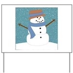 Snowman in Snow Yard Sign
