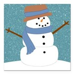 Snowman in Snow Square Car Magnet 3