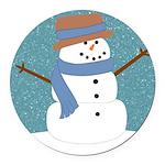 Snowman in Snow Round Car Magnet