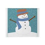 Snowman in Snow Throw Blanket
