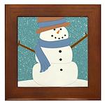 Snowman in Snow Framed Tile