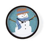 Snowman in Snow Wall Clock