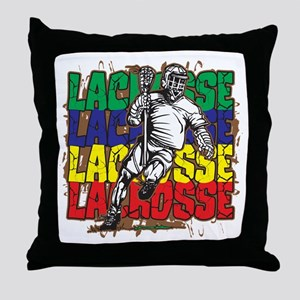 Lacrosse Action Throw Pillow