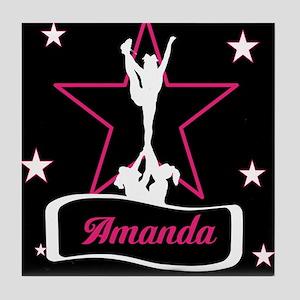 Pink and Black Cheerleader Tile Coaster