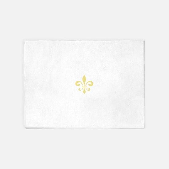 Gold Fleur De Lis 5'x7'Area Rug