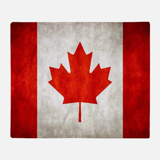 Vintage Canadian Flag Throw Blanket