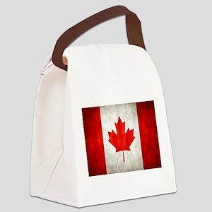Vintage Canadian Flag Canvas Lunch Bag