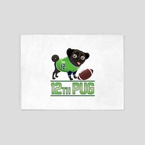 12th Pug Black (SPR) 5'x7'Area Rug