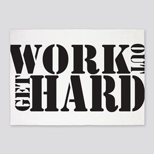 Work Out Get Hard - solid black 5'x7'Area Rug