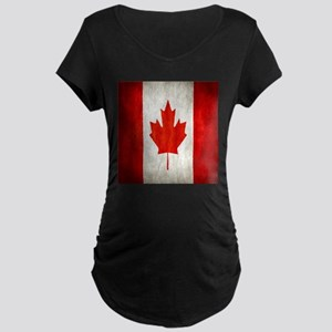 Vintage Canadian Flag Maternity T-Shirt