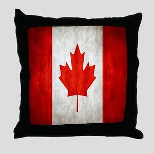 Vintage Canadian Flag Throw Pillow