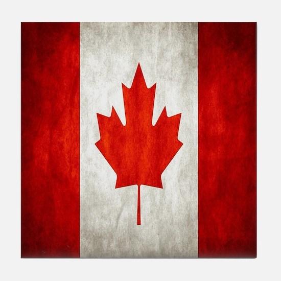 Vintage Canadian Flag Tile Coaster