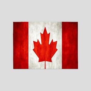 Vintage Canadian Flag 5'x7'Area Rug