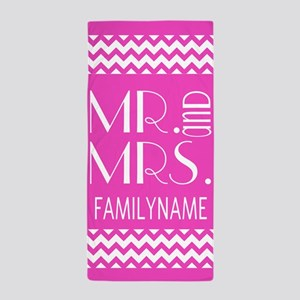 Pink and White Chevron Mr. and Mrs. Beach Towel