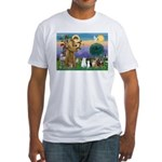 StFrancis-Lab & Sheltie Fitted T-Shirt
