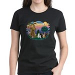StFrancis-Lab & Sheltie Women's Dark T-Shirt