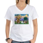 StFrancis-Lab & Sheltie Women's V-Neck T-Shirt