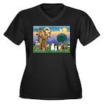 StFrancis-La Women's Plus Size V-Neck Dark T-Shirt