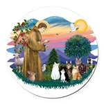 StFrancis-Lab & Sheltie Round Car Magnet