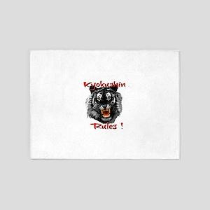 Kyokushin Black Tiger design 5'x7'Area Rug