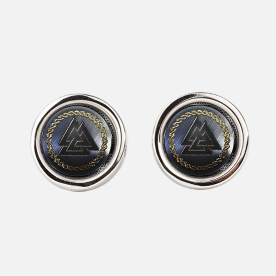 Valknut Shield Round Cufflinks