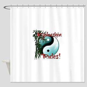 Yin Yang and Bamboo Kyokushin design Shower Curtai