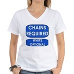 Chains Requied, Whips Optiona Women's V-Neck T-Shi