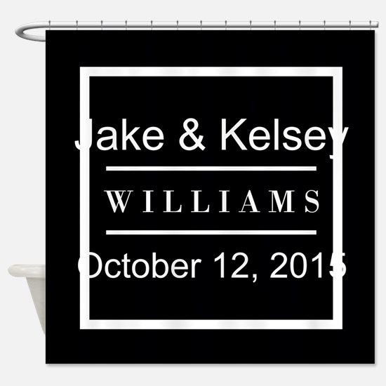 Personalized Black and White Family Shower Curtain