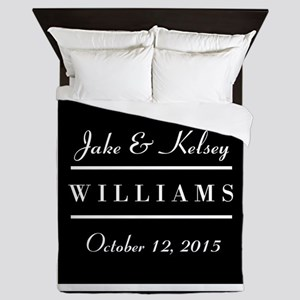 Personalized Black and White Family Ke Queen Duvet