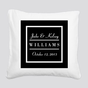 Personalized Black and White Square Canvas Pillow