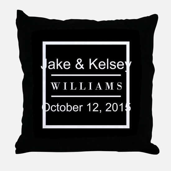 Personalized Black and White Family K Throw Pillow